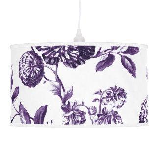 White & Mulberry Purple Botanical Floral Toile Pendant Lamp