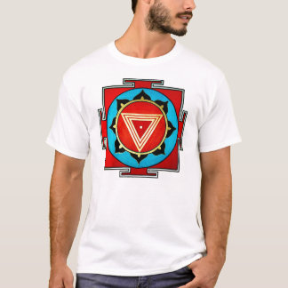 White Multicolored Kali Yantra Tee