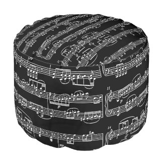 white musical notes on black pouf