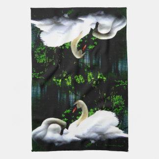 White Mute Swans Kitchen Towel