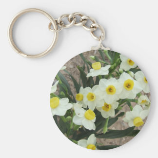 White Narcissus Flowers Keychain