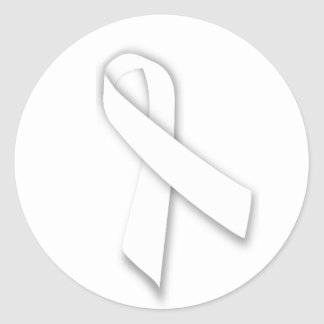 White National Day of Remembrance Ribbon Classic Round Sticker