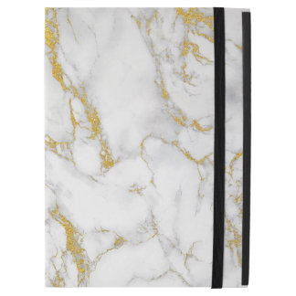 White Natural Marble Stone Gold Accent