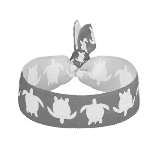 White Nature Reptile Turtle Pattern on Black Hair Tie