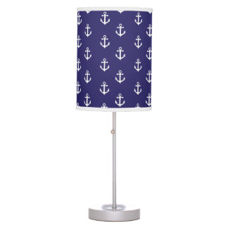 White Nautical Ancbor on Navy Blue Table Lamp