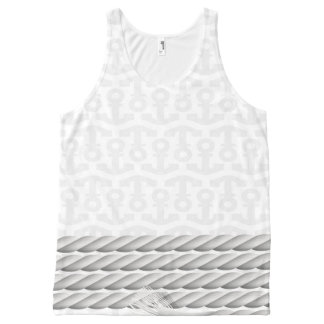 White Nautical Anchor Design with Rope All-Over-Print Tank Top
