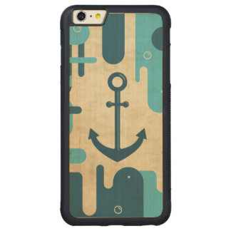White Nautical Anchor Design with Rope Carved Maple iPhone 6 Plus Bumper Case