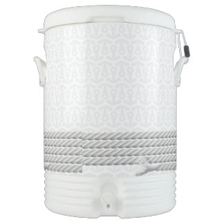 White Nautical Anchor Design with Rope Cooler