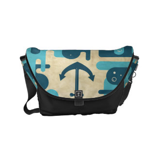 White Nautical Anchor Design with Rope Courier Bag