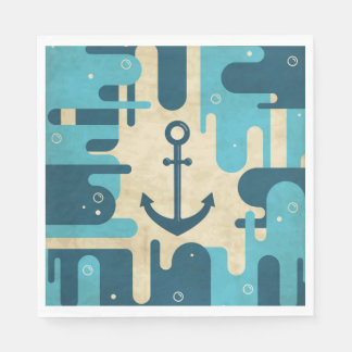 White Nautical Anchor Design with Rope Disposable Napkins