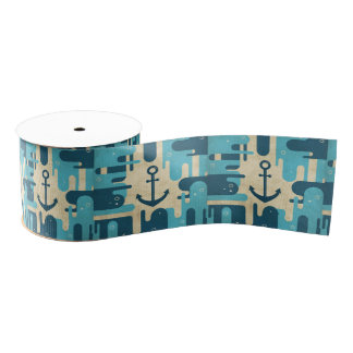 White Nautical Anchor Design with Rope Grosgrain Ribbon