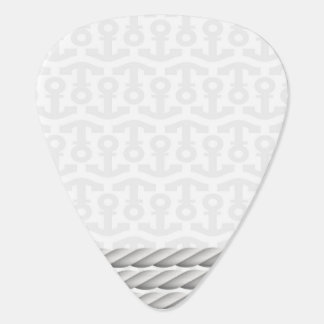 White Nautical Anchor Design with Rope Guitar Pick