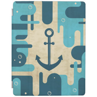White Nautical Anchor Design with Rope iPad Cover