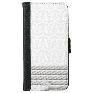 White Nautical Anchor Design with Rope iPhone 6 Wallet Case