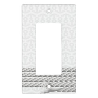 White Nautical Anchor Design with Rope Light Switch Cover