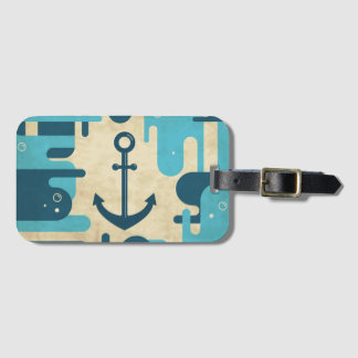 White Nautical Anchor Design with Rope Luggage Tag