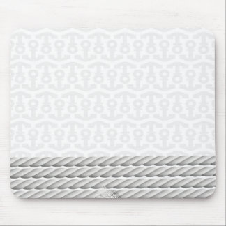White Nautical Anchor Design with Rope Mouse Pad