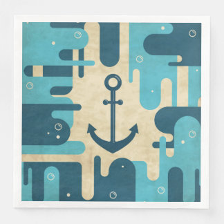White Nautical Anchor Design with Rope Paper Napkin