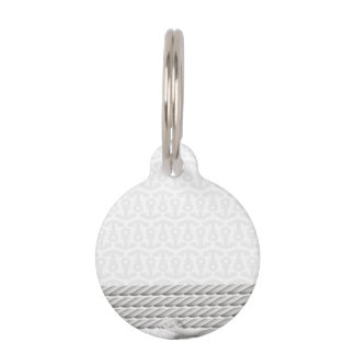 White Nautical Anchor Design with Rope Pet Tag