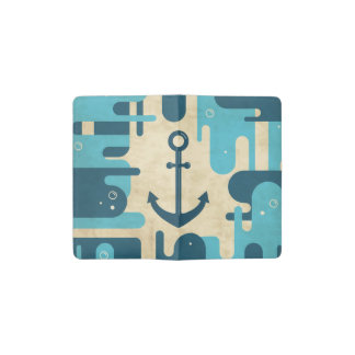 White Nautical Anchor Design with Rope Pocket Moleskine Notebook
