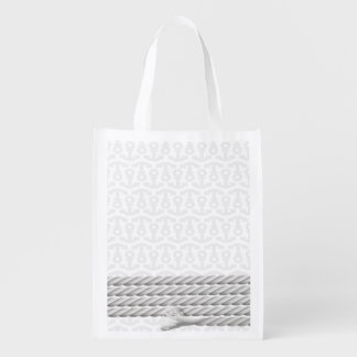 White Nautical Anchor Design with Rope Reusable Grocery Bag