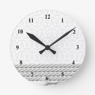 White Nautical Anchor Design with Rope Round Clock