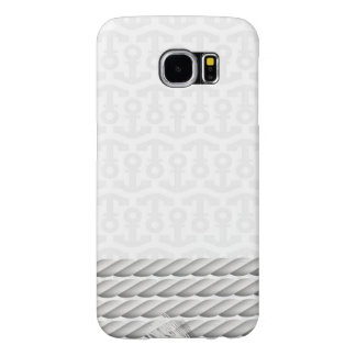 White Nautical Anchor Design with Rope Samsung Galaxy S6 Cases