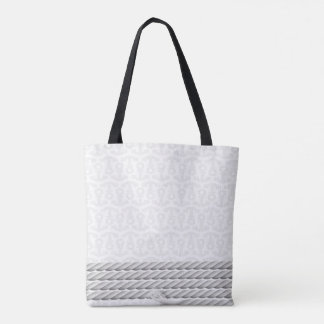 White Nautical Anchor Design with Rope Tote Bag