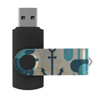 White Nautical Anchor Design with Rope USB Flash Drive