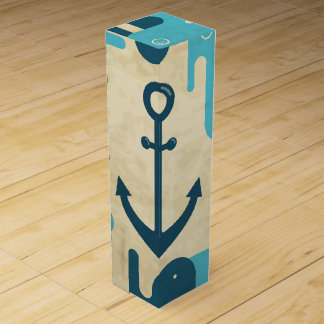 White Nautical Anchor Design with Rope Wine Box