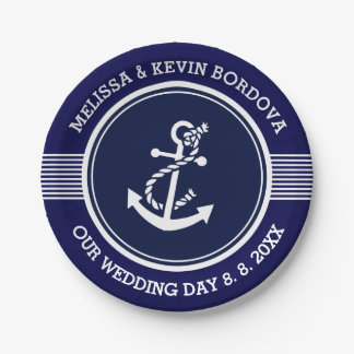 White Nautical Boat Anchor Wedding Text template Paper Plate