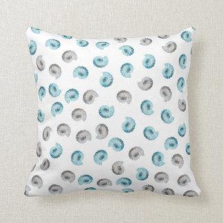 White Nautilus Argonaut Pattern Throw Pillow