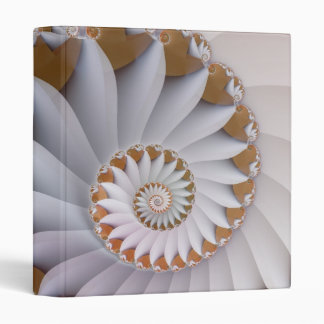 White Nautilus Fine Fractal Art 3 Ring Binder