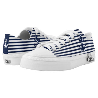 White & Navy Blue Anchor and Stripes Printed Shoes