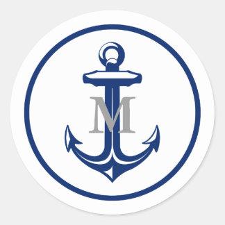 White Navy Blue Anchor   Monogrammed Classic Round Sticker