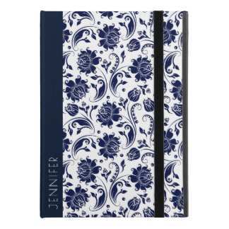 "White & Navy-Blue Floral Damasks Monogram iPad Pro 9.7"" Case"