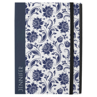"White & Navy-Blue Floral Damasks Pattern iPad Pro 12.9"" Case"