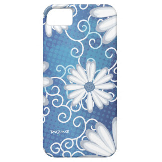 White Navy Blue Floral Tribal Daisy Tattoo Pattern Case For The iPhone 5
