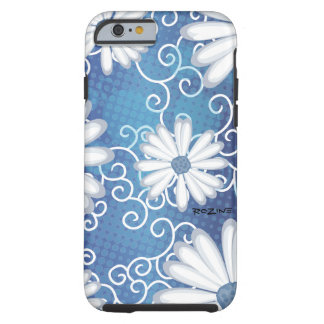 White Navy Blue Floral Tribal Daisy Tattoo Pattern Tough iPhone 6 Case