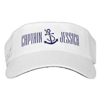 White & Navy Blue Nautical Anchor 5 Visor