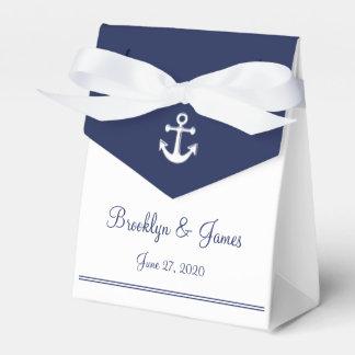 White Navy Blue Nautical Wedding Favor Boxes Tent