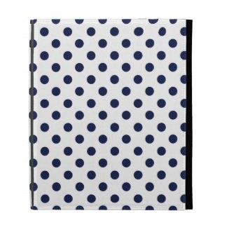 White navy blue polka dots iPad case