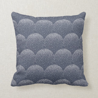 White & Navy-Blue Scalloped Dots Pattern Throw Pillow