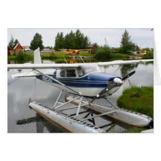 White & navy float plane, Alaska Card
