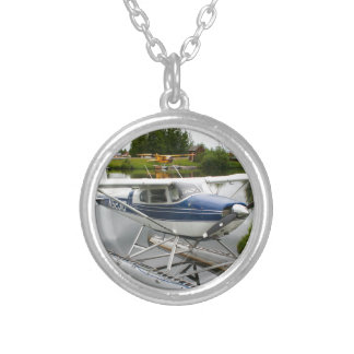White & navy float plane, Alaska Silver Plated Necklace
