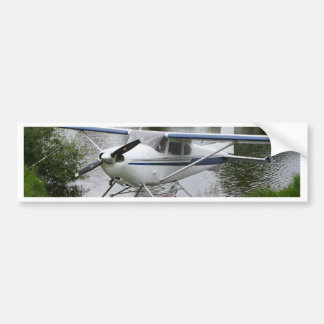 White, navy & grey float plane, Alaska Bumper Sticker