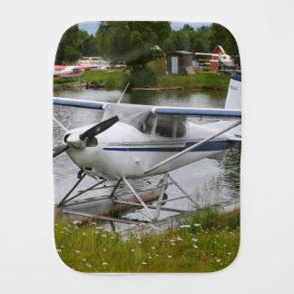 White, navy & grey float plane, Alaska Burp Cloth