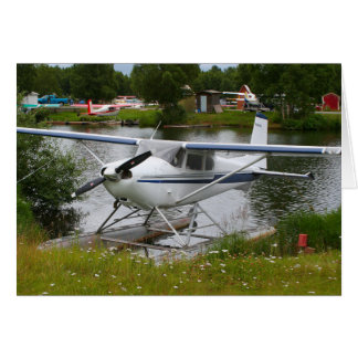 White, navy & grey float plane, Alaska Card