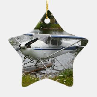 White, navy & grey float plane, Alaska Ceramic Ornament