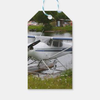 White, navy & grey float plane, Alaska Gift Tags